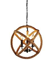abordables -Luminaire suspendu à 3 ampoules en corde de chanvre, métal léger 110-120v / ampoule 220-240v non comprise / e12 / e14