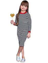 cheap -Kids Toddler Girls' Basic Cute Striped Long Sleeve Knee-length Dress Black / Cotton
