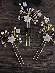 cheap -Alloy Hair Clip with Flower 1 pc Wedding / Daily Wear Headpiece