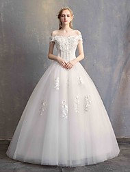cheap -Ball Gown Off Shoulder Floor Length Lace / Tulle / Lace Over Satin Short Sleeve Made-To-Measure Wedding Dresses with Beading / Appliques 2020