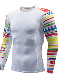 cheap -Men's Compression Shirt Long Sleeve Compression Base Layer T Shirt Top Plus Size Lightweight Breathable Quick Dry Soft Sweat-wicking Dark Grey Red / White Blue / White Nylon Winter Road Bike Fitness