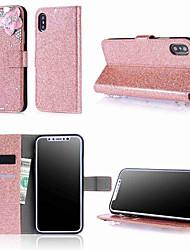 cheap -Case For Apple iPhone XS / iPhone XR / iPhone XS Max Wallet / Card Holder / Rhinestone Full Body Cases Glitter Shine / Rhinestone / Flower Hard PU Leather