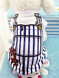cheap -Dogs Vest Dog Clothes Blue Pink Costume Cotton Stripes Casual / Daily S M L XL