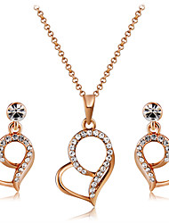cheap -Women's Clear Crystal Drop Earrings Pendant Necklace Heart Stylish Artistic Elegant Rose Gold Plated Imitation Diamond Earrings Jewelry Champagne For Party Engagement Formal 3pcs