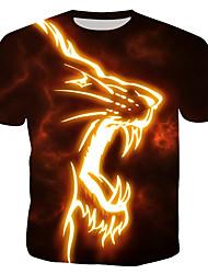 cheap -Men's Daily Cotton T-shirt - Animal Print Round Neck Rainbow / Short Sleeve