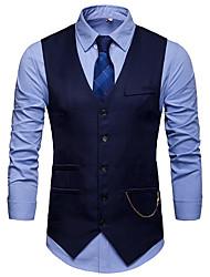 cheap -Men's Vest V Neck Polyester Black / Navy Blue / Wine / Slim