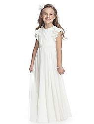 cheap -A-Line Round Neck Floor Length Chiffon Junior Bridesmaid Dress with Sash / Ribbon / First Communion