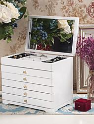 abordables -Espace de rangement Organisation Collection de bijoux En bois Carré Multicouche