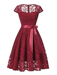 cheap -A-Line Vintage Red Homecoming Cocktail Party Dress Queen Anne Short Sleeve Short / Mini Lace with Sash / Ribbon Lace Insert 2020