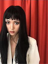 cheap -Synthetic Lace Front Wig Straight Kardashian Style With Bangs Lace Front Wig Black Natural Black Synthetic Hair Women's Black Wig