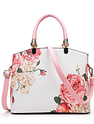 cheap -Women's Zipper / Flower PU Leather Top Handle Bag Leather Bags Floral Print Black / Blue / Red / Fall & Winter