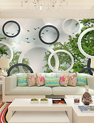 cheap -Wallpaper / Mural Canvas Wall Covering - Adhesive required Geometric / Art Deco / Trees / Leaves