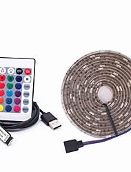 cheap -3m RGB Strip Lights 90 LEDs 5050 SMD 10mm 1 24Keys Remote Controller RGB+White Waterproof / Decorative / Linkable 5 V / USB Powered 1 set