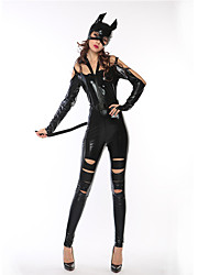 cheap -Catwoman Cosplay Costume Hat Adults' Women's One Piece Halloween Halloween Carnival Masquerade Festival / Holiday Polyster Black Women's Carnival Costumes Solid Colored Cool Skulls / Leotard / Onesie