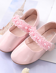 cheap -Girls' Comfort / Flower Girl Shoes PU Flats Toddler(9m-4ys) / Little Kids(4-7ys) Stitching Lace White / Pink Spring / Fall / Wedding / Party & Evening / Wedding / Rubber