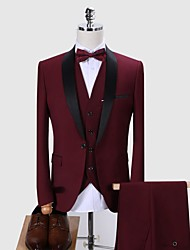 cheap -Tuxedos Tailored Fit / Standard Fit Shawl Collar Single Breasted One-button Wool / Polyester Solid Colored