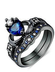 cheap -Men's Women's Ring Promise Ring 2pcs Dark Blue Alloy Circular Daily Ceremony Jewelry Heart