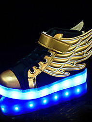 cheap -Boys' / Girls' LED / Comfort / LED Shoes PU Sneakers Toddler(9m-4ys) / Little Kids(4-7ys) / Big Kids(7years +) Lace-up / Luminous Gold Spring / Fall / Color Block / Rubber