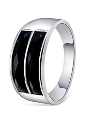 cheap -Couple's Ring Onyx Crystal 1pc Silver Copper Silver Plated Obsidian Stylish Simple Elegant Engagement Daily Jewelry Classic Lovely