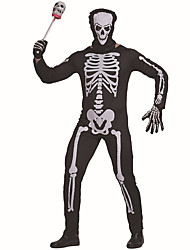 cheap -Skeleton / Skull Zentai Suits Cosplay Costume Adults' Men's One Piece Halloween Halloween Carnival Masquerade Festival / Holiday Polyster Black Men's Carnival Costumes Cool Skulls / Leotard / Onesie