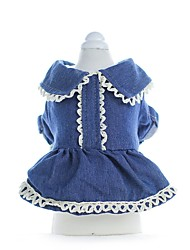 cheap -Dogs Dress Dog Clothes Blue Costume Corgi Beagle Bulldog Cotton Solid Colored Dresses&Skirts Sweet Style XS S M L XL