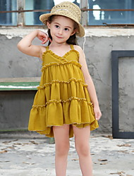 cheap -Kids Girls' Solid Colored Dress Green