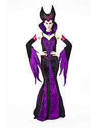 cheap -Witch Dress Cosplay Costume Hat Adults' Women's Dresses Halloween Halloween Carnival Masquerade Festival / Holiday Polyster Purple Carnival Costumes Patchwork