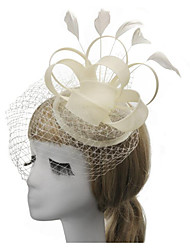 cheap -Women's Ladies Tiaras For Wedding Party / Evening Feather Fabric Black Beige