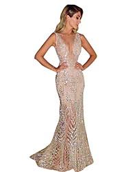 Недорогие -Жен. Элегантный стиль Тонкие Русалка Платье - Однотонный, Пайетки Глубокий V-образный вырез Макси