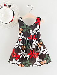 cheap -Baby Girls' Boho Geometric Backless / Bow Sleeveless Above Knee Cotton Dress Brown / Toddler