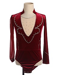 cheap -Figure Skating Top Men's Boys' Ice Skating Top Burgundy Patchwork Spandex Micro-elastic Competition Skating Wear Handmade Patchwork Classic Long Sleeve Ice Skating Figure Skating