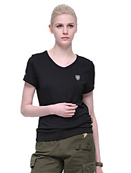 cheap -Women's Solid Color Hiking Tee shirt Short Sleeve Outdoor Breathable Fast Dry Stretchy Tee / T-shirt Top Summer Terylene Crew Neck Black Hunting Military / Tactical Camping / Hiking / Caving