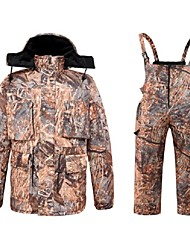 cheap -Men's Hunting Jacket with Pants Outdoor Fleece Lining Warm Anti-Wear Thick Winter Camo Clothing Suit Cotton 100% Polyester Hunting Fishing Camping / Hiking / Caving Camouflage