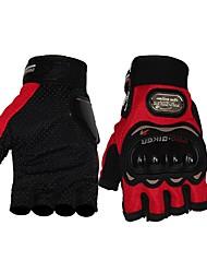 abordables -Demi-doigt Unisexe Gants de moto Cuir Respirable / Antiusure / Antidérapant