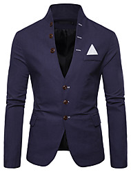 cheap -White / Black / Red Solid Colored Regular Fit Polyester Men's Suit - Shirt Collar