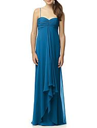 cheap -A-Line Spaghetti Strap Floor Length Chiffon Junior Bridesmaid Dress with Ruching / Pleats by LAN TING BRIDE®