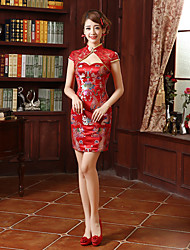 cheap -Adults' Women's Designed in China Chinese Style Wasp-Waisted Chinese Style Cheongsam Qipao For Engagement Engagement Party Bridal Shower Lace Cotton Above Knee Cheongsam