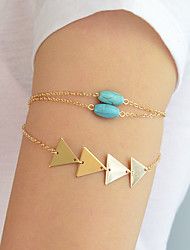 cheap -Women's Body Jewelry 25.5 cm Arm-Chain Turquoise Gold / Silver Triangle Stylish / Boho Alloy Costume Jewelry For Daily / Date Summer