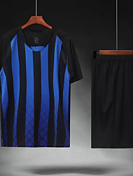 cheap -Men's Soccer Soccer Jersey and Shorts Clothing Suit Breathable Sweat-wicking Team Sports Active Training Football Stripes Polyester Adults Blue Black