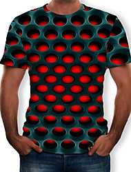 cheap -Men's Casual / Daily Plus Size Street chic / Exaggerated T-shirt - Geometric / 3D Print Round Neck Purple