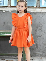 cheap -Kids Girls' Basic Solid Colored Ruched Short Sleeve Knee-length Dress Orange