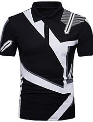 cheap -Men's Geometric Polo Shirt Collar White / Black