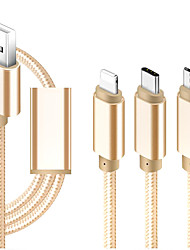 cheap -Micro USB / Lightning / Type-C Cable 1m-1.99m / 3ft-6ft All-In-1 / Braided / 1 to 3 Textile USB Cable Adapter For iPad / Samsung / Huawei
