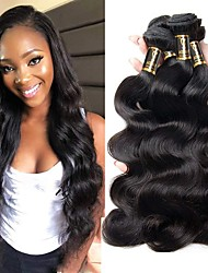 cheap -3 Bundles Brazilian Hair Body Wave Remy Human Hair 300 g Natural Color Hair Weaves / Hair Bulk Bundle Hair One Pack Solution 8-28 inch Natural Color Human Hair Weaves Odor Free Thick For Black Women