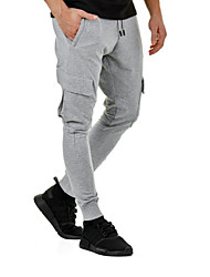 cheap -Men's Jogger Pants Joggers Running Pants Drawstring Cotton Sports Pants / Trousers Sweatpants Bottoms Gym Workout Lightweight Quick Dry Solid Colored Black Army Green Grey / High Elasticity / Skinny
