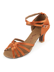 cheap -Women's Dance Shoes Satin Latin Shoes Heel Cuban Heel Coffee / Blue / Leopard / Performance / Practice
