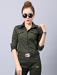 cheap -Women's Camo Hiking Shirt / Button Down Shirts Long Sleeve Outdoor Lightweight Breathable Quick Dry Wear Resistance Roll up Sleeves Shirt Autumn / Fall Winter Cotton Hunting Camping / Hiking / Caving