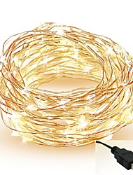 cheap -5m String Lights 50 LEDs SMD 0603 Warm White White Red Cuttable Party Decorative 5 V IP65