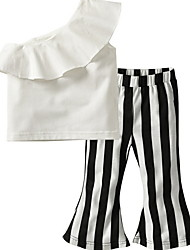 cheap -Kids Girls' Street chic Striped Sleeveless Regular Clothing Set White