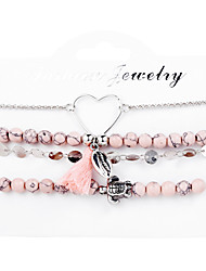 cheap -Women's Bead Bracelet Wrap Bracelet Beads Heart Turtle Shell Tropical Casual / Sporty Cord Bracelet Jewelry Pink For Carnival Going out Work